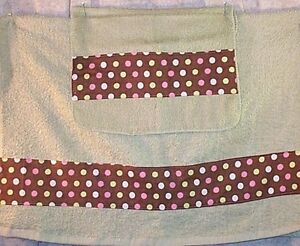 Home Decor' Towel Bath Set 2 Pcs Wash Cloth Lime Brown Pink Dots NEW