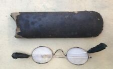 Antique copper metal wire rim oval eye glasses 1800's DYO Co cardboard case