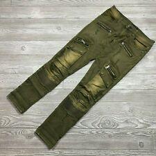 Black Premium Skinny Flex Green Motorcycle Pants Zipper Detail Men's 28x30 C15
