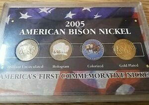 American Bison Nickel Collection in Sealed Case Colorized, Holograph, 24kt Pltd