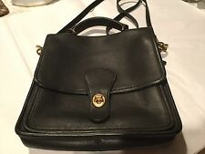 VINTAGE BLACK  LEATHER COACH WILLIS STATION CROSS BODY SHOULDER BAG #9927 USA