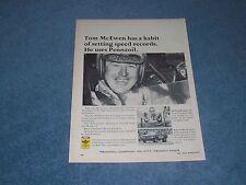 "1966 Pennzoil Motor Oil Vintage Ad ""Tom McEwen Has Habit of Setting Speed Record"