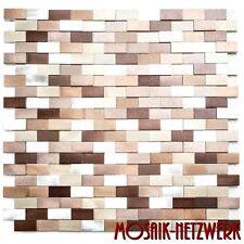 Mosaik Verbund Aluminium 3D mix silber/kupfer Verblender Art:49-0207   10 Matten