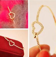 New Fashion women 9K Gold Plated Overlay Rhinestone Heart Bracelet Bangle 2015