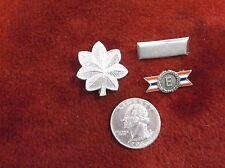 LOT OF 3 VTG STERLING SILVER US MILITARY PINS, USMC MAJOR LEAF, BAR, ARMY NAVY E