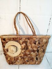 Straw Purse Brown made in Phillipines with Mini Straw Hat and yarn embellishment