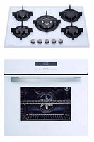 MILLAR White 70cm 5 Burner Gas Hob & 9 Functions Electric Fan Oven