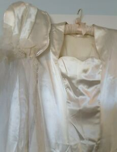 1940s Satin Wedding Dress and matching long train veil w/ Satin cap