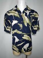 KoKo Island XL Blue Green Floral Mens Button-Front Hawaiian Shirt - Extra Large
