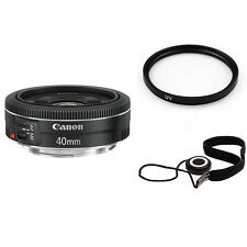 Canon EF 40mm f/2.8 STM Pancake Lens w/52mm UV Filter & Lens Cap Keeper