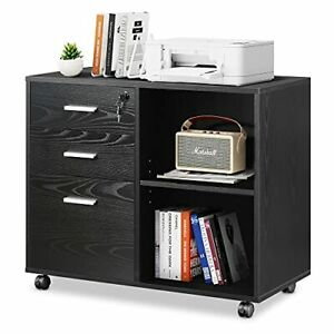 3-Drawer Wood File Cabinet with Lock, Mobile Lateral Filing Cabinet, Black