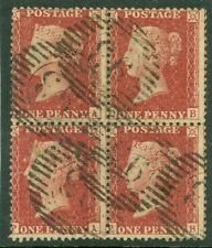 SG 41 1d deep rose red. Scarce block of 4. Fine used '93' numerals...