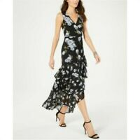 New Inc International Concepts Women's Black Floral Tiered Maxi Dress Size 8