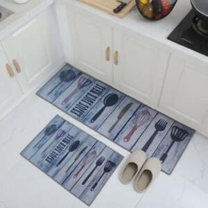 Blue, Rubber, Standard, Anti Skid Backing Abstract Kitchen Floor Mat & Runner