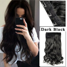 "1Pcs Dark Black Natural Hair Extensions Clip in 3/4 Full Head Curly Wavy 17"" US"