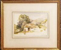John Frederick Lewis RA, HRSA original watercolor 1820s signed museum piece RARE