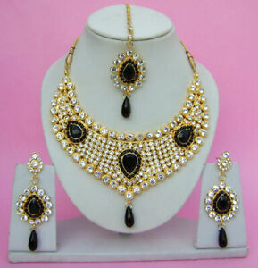 Gold Plated Bollywood Zircon Black Necklace Earrings Pakistani Kundan Jewelry