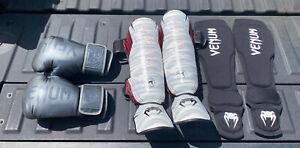 Venum 12 0z Gloves Shine Gaurds Instep Pro Thai Elbow Pads lot