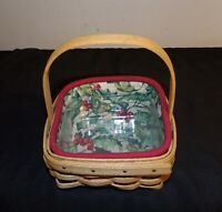 Longaberger Holiday Helper Basket Combo 2003 Red Green Holly liner & protector