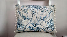 Handmade cushion cover Laura Ashley French Blue Vintage Style pompom trim Linen