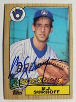 1987 Topps BJ Surhoff RC Auto Autograph Card Brewers Orioles Signed #216