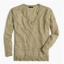 J.Crew Marled Olive Green Merino Wool Linen Blend V-Neck Sweater - Size M