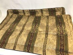 Set 2 King Size CROSCILL Townhouse Pillow Shams Burgundy Gold Green Traditional