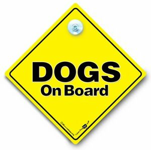 Dogs on Board Sign, Dogs in Vehicle Sign,Dogs on Board Car Sign,Suction Cup Sign