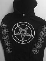 PENTAGRAM Hoodie Front + Sleeve print SATANIC satanism gothic S - XL  FREE SHIP
