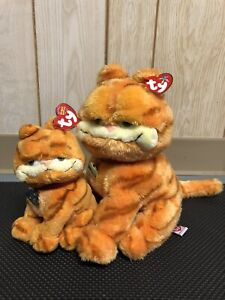 2004 Garfield the Cat Pair TY Plush Beanie Baby and Beanie Buddy with Tags