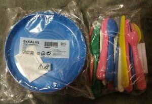 Ikea KALAS BPA Free Multicolor Plate & Flatware (Spoons, Forks, Knives) Set