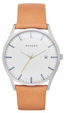 Skagen SKW6282 Men's Holst Tan Leather Band Slim White Dial Analog Watch