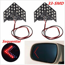 Red 2pcs 33-SMD Car Rear Side Mirror Sequential LED Arrows Turn Signal Lights