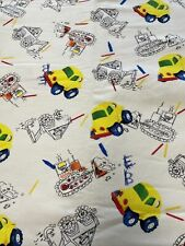 "Construction Backhoe Car  Flannel Fabric 4 Yards 44"" Wide 100% Cotton"