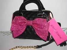NWT Betsey Johnson black stripe w/ pink bow Mini Barrel satchel crossbody bag