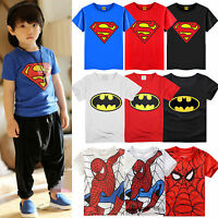 Baby Kids Boys Cartoon Batman Spider-Man Superman Tee Tops T-Shirt Age 1-7 Years