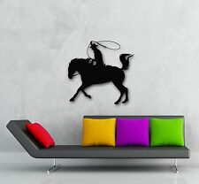 Wall Stickers Vinyl Decal Texas Cowboy Horse Rider Silhouette Lasso (ig307)