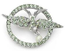 PILGRIM SKANDERBORG Dove Brooch Precious Stones Genuine Crystal Freshwater Pearl