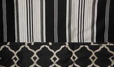 Waverly DOWN THE LANE Black WhiteGray Stripe Fabric Barcode Valance NNP