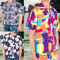 Hawaiian Shirt Men Floral Scenic Beach Party Holiday Camp Casual Short Sleeve US