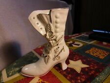 Elegant+Rare [50Th Anniversary] Ceramic Floral Boot/Shoe With Gold Trim [#Ab-12]