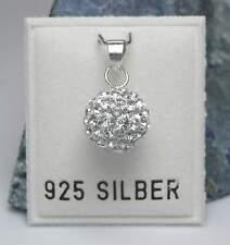 Neu 925 Silber ANHÄNGER 10mm Kugel SWAROVSKI STEINE kristallklar KETTENANHÄNGER
