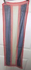"Vintage Chiffon Scarf Red Blue Stars Stripes 42"" Long"