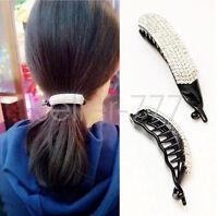 Fashion Women Girl Banana Clip Crystal Hair Clip Ponytail Holder