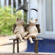 Happy Pigs Garden Bench Under Umbrella Sculpture Friendly Pigs Yard Art Statue