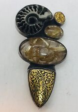 Amy Kahn Russell Sterling Silver Rutile Quartz Yellow Gold Inlay Pin Pendant
