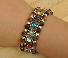 tibetan silver  mix color rhinestone tiger's eye stone beads  elastic Bracelets