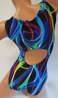 FlipFlop Leos Gymnastics Leotard,  Gymnast Leotards - ELECTRIC TWISTS OPEN BACK