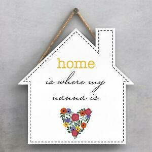 HOME WHERE MY NANNA IS SPRING MEADOW THEME WOODEN HANGING PLAQUE