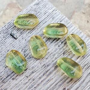 Vintage Gorgeous Pale Yellow & Green Cloud Givre Glass Beads Czech German 16mm